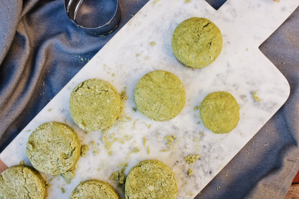 homemade scones with matcha